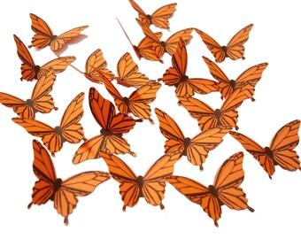 20 Orange Butterfly scrapbook embellishments - No828