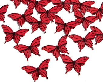 20 Red Butterfly scrapbook embellishments - No369