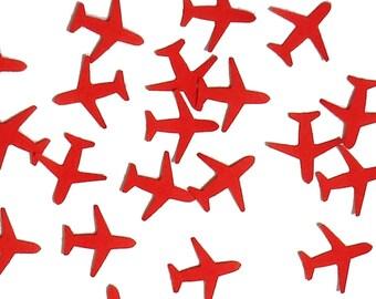 100 Mini Red Airplane punch die cut confetti scrapbook embellishments - No638