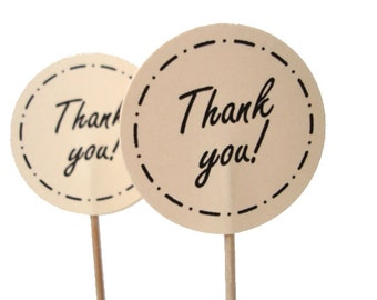 10 Thank You Party Picks, Cupcake Toppers, Food Picks, Toothpicks, Drink Picks - No811