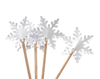 24 Frozen White Alpine Snowflake Party Picks, Cupcake Toppers, Food Picks, Sandwich Picks, Frozen Party Decorations - No420