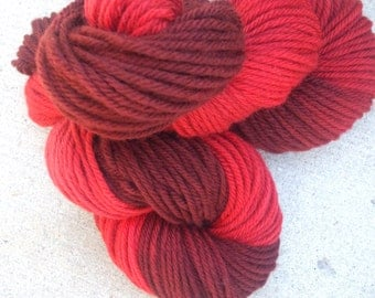 Three Shades of Scarlet Hand Dyed Bulky Weight Wool Yarn