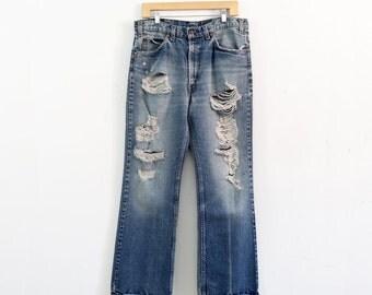 FREE SHIP  Levi's 517 denim jeans, 1970s ripped jeans, waist 35