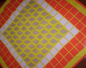 Vintage Atomic Neon Orange, Yellow and Grey Geometric Patterned Scarf - Style - Fashion - Women - Square Scarf