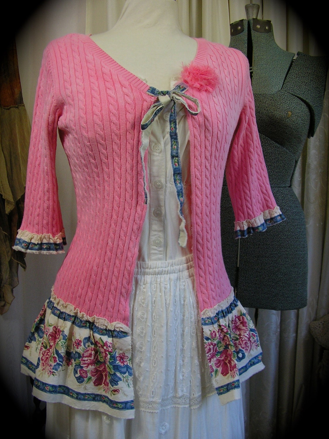 Pink shabby sweater frayed upcycled clothing refashioned for Best upcycled projects
