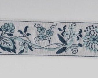 Jacquard woven cotton ribbon BLUE FLOWERS