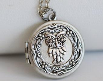 Hoots,Locket,Jewelry,Locket Pendant Necklace,Owl Locket,Little Hoots,Moonlight Owl,Silver locket ,Bridesmaid Necklace,Wedding Necklace