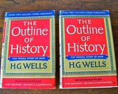 Vintage H G Wells History Book Set The Outline of History 1961 The Story Of Man Time Machine History Buff Home School Primeval Caveman