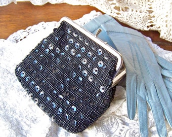 Vintage Black Clutch Bead & Sequin  Black Satin Lining Small Purse Evening Bag Opera Clutch Vintage 1960s
