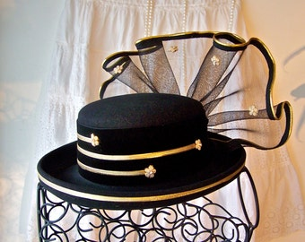 Vintage Black Felt Hat Gold Trim Tulle Style Hat Black Netting Hat Black Rose Vintage 1960s