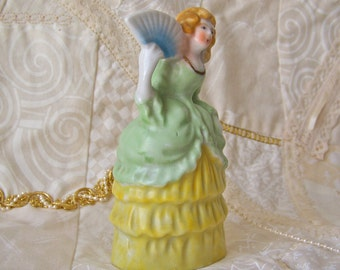 Vintage Victorian Lady Bell Occupied Japan Pale Green Southern Dress Porcelain Bell Southern Belle Vintage 1940s