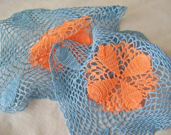 Vintage Crochet Doilies Blue and Coral Pair Matching Doilies Hand Crochet Delicate Lacy Home Decor Vintage 1960s