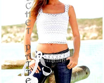 Summer  Crochet Top, Pattern with Chats only and information on yarn and stitches.Only  in PDF files