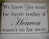 Remembrance sign, We know you would be here today if Heaven wasn't so far away, Wedding Day remembering loved ones.