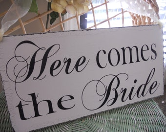 Wedding Signs,REVERSIBLE Personaized with established date and Here comes the Bride..Ring Bearer Signs,Flower girl sign,photo prop sign:)