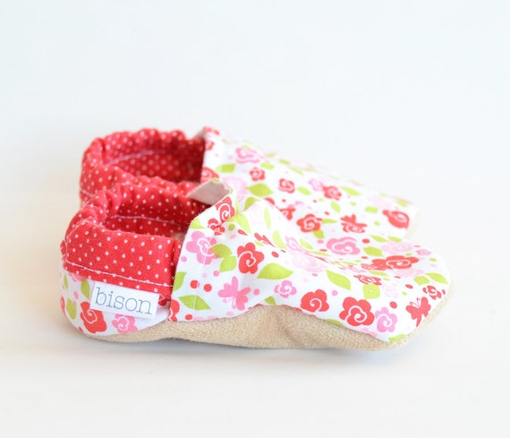 May Day Bison Booties Size 0 to 6 Months Newborn Baby Floral Pink Ready to Ship flower vegan shoes