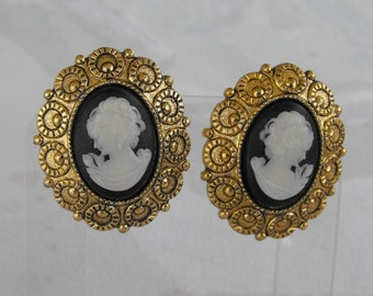 West Germany Cameo Clip On Earrings Black White Mourning Vintage Jewelry