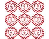 Valentine Bottlecap Image Sheet Red White Chevron Pink Heart Fancy Monogram Initial Bottlecap Alpha Initials Set Valentine INSTANT DOWNLOAD
