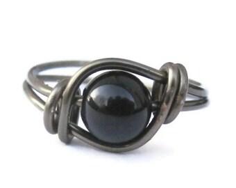 Black Agate Ring In Gunmetal, Boho Gothic Jewelry