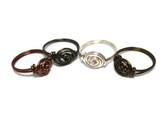 4 Wire Wrapped Rings - Jewelry Set - Custom Size Rings - Rosette rings - Custom Jewelry - Ring Gift Set