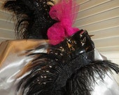 Heel Less Sculptured Platform Spiked  Women  Shoes/ Booties Black with Ostrich Feathers size 7..A SpikesByG Design