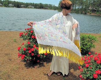 """White Summer Shawl with """"Chikan"""" Work Embroidery and Feminine Silk Fringe"""