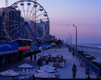 Fine Art Photography - Beach in the Evening I- Purple Boardwalk Landscape Photography
