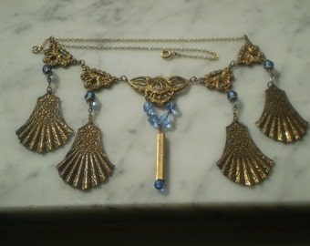 SALE Less Than 1/2 Price Sale Brass and Crystal Bead Necklace