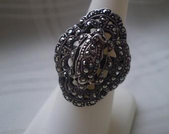 Sale Sterling Markesite  Deco Ring