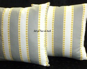 Decorative Throw Pillow Covers - Two 16Inch - Grey, Yellow, White Stripe