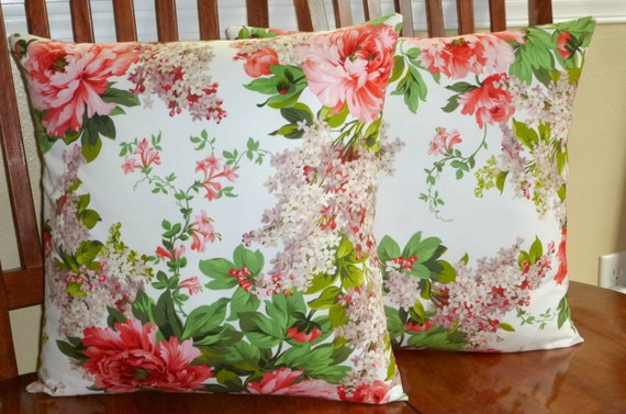Decorative Accent Throw Pillows -Set of Two 18 inch Pillow Covers -Scented Garden