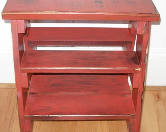 Step stool ladder, red, distressed, gift idea
