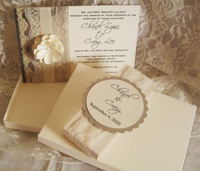 French Vintage Wedding Invitations: Lace Wedding Invitations, French Market Elegant, Shabby