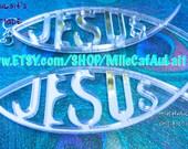 Laser Cut Acrylic Mirror Christian Faith Earrings - JESUS