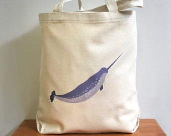 Canvas tote bag, narwhal. New size.