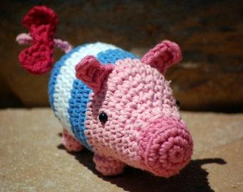 Amigurumi Poogie, Monster Hunter mascot pig character in Memorial Stripes costume