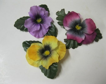 Floral Pansy Posy Pins, Brooch, Tuck in Hair, Pin on Purse Pefect Style Decor Set of Three Very Versatile Pins Wear Single are All Together