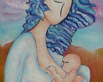 Mother's day.Free shipping art.Motherhood art.Breastfeeding art.Breastfeeding painting.Blue hair.Mother and daughter.Impasto.Motherly love