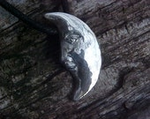 CELESTIAL  MOON Face Unique Custom Copyrighted Design Pendant influenced by Eskimo Inuit Mythology in Sterling silver OR Bronze
