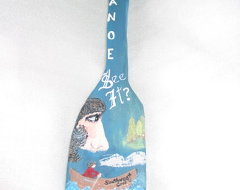"""Folk Art Paddle """"Canoe See It""""  with hidden white-tailed deer"""