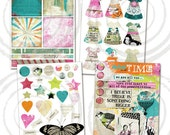 Instant Download - NEW 2013-004 - Art Journaling Kit 4 Digital Collage Sheets Altered Art Paper Dolls Dresses Wings Hearts Art Doll