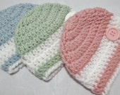 Baby beanies in your choice of colors available in sizes newborn to 12 months.