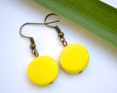 Yellow Wood Rounds . Earrings . Willow Collection