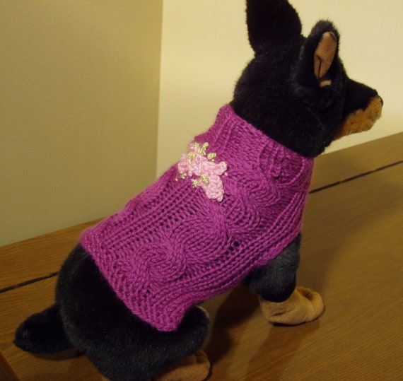 Dog Sweater Hand Knit Lola Cable XX Small Cashmere/Merino