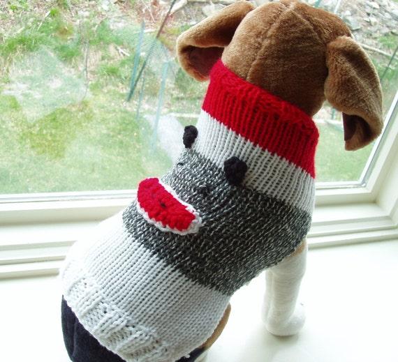 Knitting Pattern For Sock Monkey Sweater : Dog Sweater Hand Knit Sock Monkey Medium 14 inches long