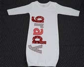 Hand Appliqued Personalized Infant Baby Boy Gown