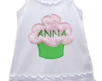 First Birthday Pink / Lime Green Fluffy Cupcake Birthday Dress