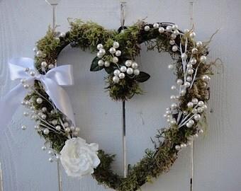 Heart Wreath With Preserved Gardenia     Valentine Wreath     Heart Wreath     Wedding Wreath  Hand Crafted Wreath
