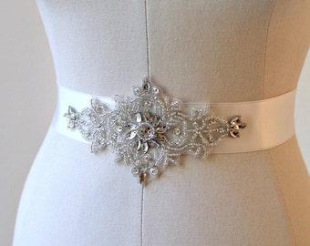 Bridal crystal rhinestone ribbon sash.  Beaded applique wedding belt.  VERONICA