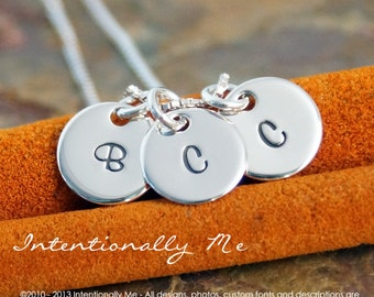 Hand Stamped Mommy Necklace -  Personalized Sterling Silver Jewelry - Tiny Initial Tags Trio Necklace